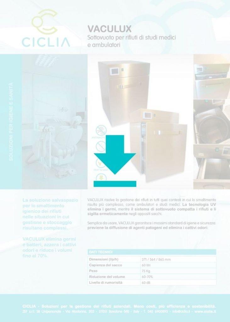 Dispositivo trattamento rifiuti sanitari VACULUX medicale brochure