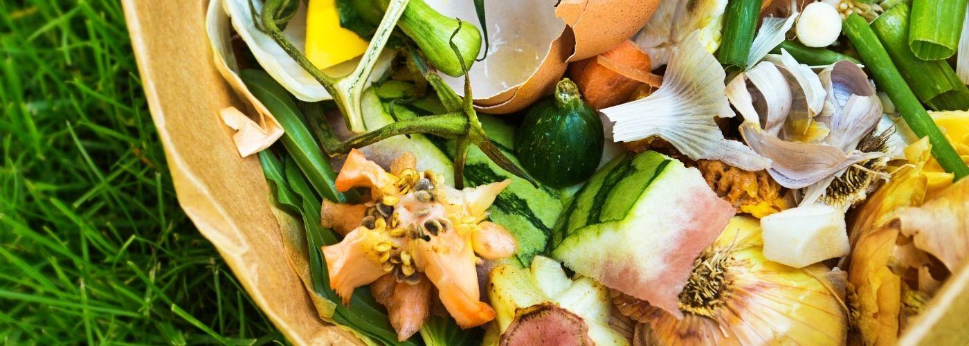 Compostaggio dei rifiuti umidi organici come frutta e vedure